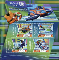 Maldives Water Sports Stamps 2015 MNH Sailing Surfing Jet Skiing 4v M/S