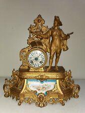 Ancienne Pendule Horloge JAPY mécanique BRUNFAUT le Peintre Porcelaine de Sèvres