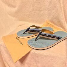 Louis Vuitton Blue Navy Gold Sandals Flip Flops Shoes 37, 7, 7.5, 8