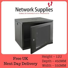 "12u 450mm 19"" Nero Armadio da appendere i dati di rete PANNELLO PATCH RACK, switch LAN PDU &"