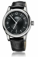 Oris Classic Black Dial Black Leather Strap Men's Watch 73375944034LS