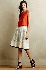 NEW Anthropologie Ranna Gill White Bellflower Skirt Size 8 Retails $148