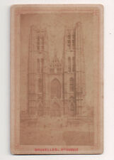 Vintage CDV Cathedral of St. Michael and St. Gudula Brussels, Belgium.