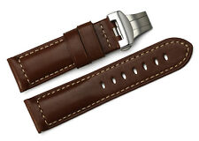 24mm Brown Handmade Genuine Calf Leather Watch bands strap For Panerai Luminor