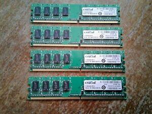 4GB SET - CRUCIAL 1GB X 4 PC2-6400U DDR2 DESKTOP MEMORY RAM - 4 PIECES @ 1GB EA