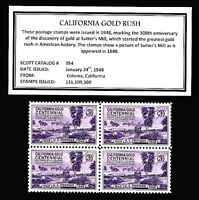 1948 - CALIFORNIA GOLD - Mint, Never Hinged, Block of  Vintage Postage Stamps