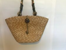 Sun N Sand Beach Bag Tote Purse Wood Straw Lined Summer Handbag Cruise