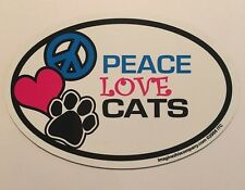 Peace Love Cats - Car Home Refrigerator Pet Dog Cat Oval Magnet