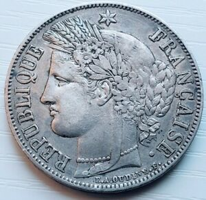 1850 A | France | Ceres Head Five Franc | Silver | Looks VF+