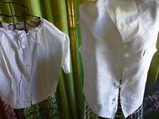 beau  lot=T38/40  corsage piqué ancien  et gilet blanc  satiné =unisexe
