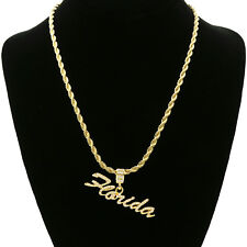 """14k Gold Plated Cz   FLORIDA   Hip Hop Pendant 24"""" Rope Chain"""