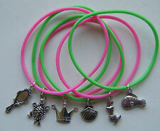 6 LITTLE MERMAID THEME PARTY BAG FILLERS GIFTS GUMMY BANDS CHARM BRACELETS