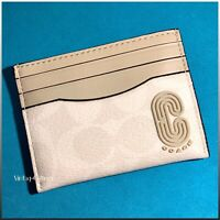 COACH Leather Card Case Wallet Signature Canvas with Retro Coach Patch / NWT