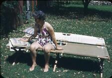 Mature Swimsuit Woman on Cot Reads Sunday Newspaper Comics Vtg 1950s Slide Photo