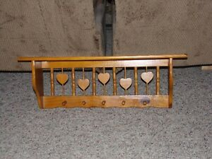 Vintage Wood Shelf With Pegs for hanging Things Heart Design