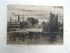 Antique 19thc Etching by Francis Seymour Haden. First State. The Feathers Tavern