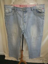"Mens Jeans Joe Browns W 46"", inside leg 28"", sky blue distressed, zip fly 8104"