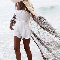 Womens Boho Kimono Jacket Chiffon Cardigan Long Tops Blouse Beach Cover Up Dress