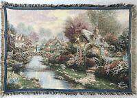 Thomas Kinkade Painter of Light Throw Blanket Tapestry Bridge Cottage River Town