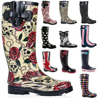 FIRE SALE New Womens Funky Snow Rain Welly Wellies Wellington Flat Boots