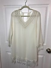 Coachella Mitto WHITE Ivory Sheer BOHO PEASANT Coverup Dress Top Lace Sleeve S
