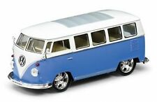 WELLY 1:24 DISPLAY 1962 VOLKSWAGEN BUS LOW RIDER Diecast Car Blue Color 22095