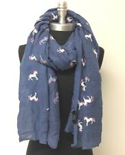 New Women Lady Long Soft Chiffon Scarf Wrap Shawl Unicorns Printed Blue Cozy