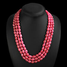 SUPERB MAGNIFICIENT 600.00 CTS NATURAL 3 STRAND OVAL RED RUBY BEADS NECKLACE