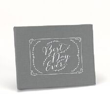 Rustic Vines Best Day Ever Grey Linen Personalized Wedding Guest Book