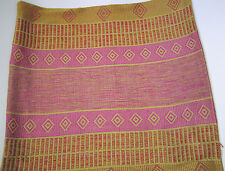 "Fair Trade Pillow Cover Hand Woven Ethiopia Rayon/Cotton 16"" x 16"" Pink & Gold"
