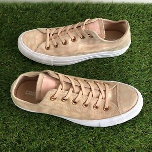 Converse Trainers Size 6 UK Peach Orange Melba Pink Leather Low Tops VGC (69)