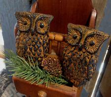 PRiMiTiVE OWLS Blackened Beeswax Ornament Cinnamon Scented Folk Art Shelf Sitter