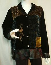 Coldwater Creek Black Multicolor Patchwork Embroidered Button Up L/S Jacket L