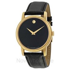 NEW Gold Movado Museum Black Dial Leather Strap Men's Watch - FREE Shipping!