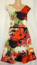 BOWS & SEQUINS PLUS RED PINK WHITE FLORAL PRINT DRESS SIZE 2X 20W  A123