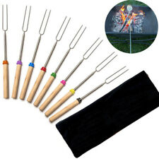 8Pcs Bbq Skewers Sticks Hot Dog Telescoping Roasting Campfire Forks Party Set