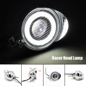 Silver LED Headlight Motorcycle Scooter Cafe Racer Head Lamp High/L White Light