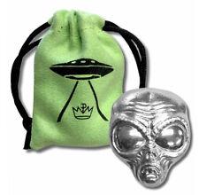 2 OZ 999 Plata Fina Alien Cabeza UFO Extraterrestre 3D Lingote / Barra Con Funda