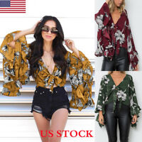 Womens Ladies Sexy Deep V-neck Front Tie Frill Summer Crop Tops Blouse T Shirt