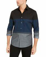Alfani Mens Shirt Blue Size Large L Danny Stripe Colorblock Button Up $65 #050