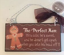 'The Perfect Man...' Gingerbread Man Wall Plaque Christmas Ribbon Bow Brown
