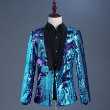 Mens Reversible Two Tone Glitter Sequins Jacket Suit Blazer Fancy Dress Outfit