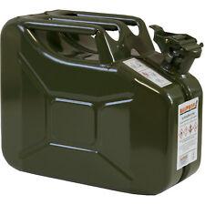 Benzinkanister Metall 10 L Benzin Stahlblech-Kanister oliv 10 Liter Armee NEU