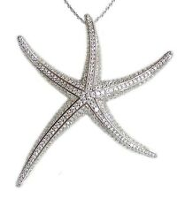 New .925 Sterling Silver Cubic Zirconia Starfish Pendant Necklace