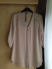 Womens Nude Beige Studded Arms Blouse Top Size 10 New with tags