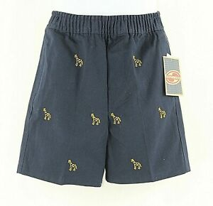 Salty Dog NEW 4T Navy Yellow Embroidered Giraffe 100% Cotton Boys Short I027