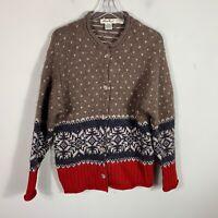 Eddie Bauer Alpaca Wool Cardigan Sweater Size M Red Brown Nordic Snowflake