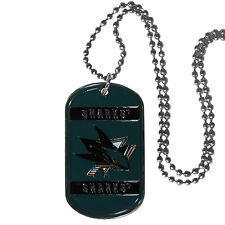 "san jose sharks licensed nhl hockey necklace dog tag 26"" chain"