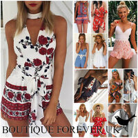 UK Womens Mini Playsuit Ladies Jumpsuit Summer Beach Holiday Dress Size 6 - 14