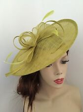 NEW Olive Lime Green Wedding Fascinator Saucer Hat Formal Ladies Ascot Disc